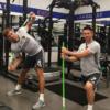 Steven Gerrard and Robbie Keane in the LA Galaxy gym using a ProFitstick each