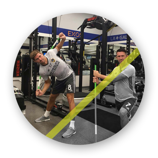 Steven Gerrard and Robbie Keane in the LA Galaxy gym using a ProFitstick each